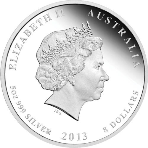 (W017.8.D.2013.2S1316KAAA) 8 Dollars Australia 2013 5 ounces Proof silver - Year of the Snake Obverse (zoom)