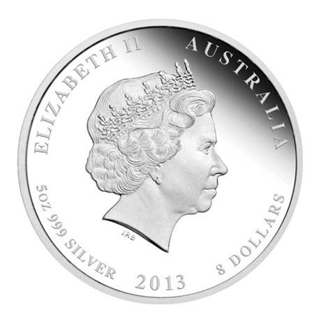 (W017.8.D.2013.2S1316KAAA) 8 Dollars Australie 2013 5 onces argent BE - Année du Serpent Avers