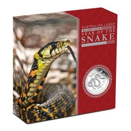 (W017.8.D.2013.2S1316KAAA) 8 Dollars Australie 2013 5 oz Ag BE - Année du Serpent (boîte)