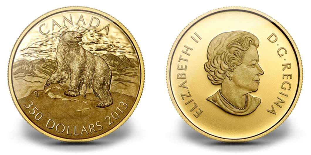 (W037.350.D.2013.125879) 350 Dollars Polar bear 2013 - Proof gold (zoom)