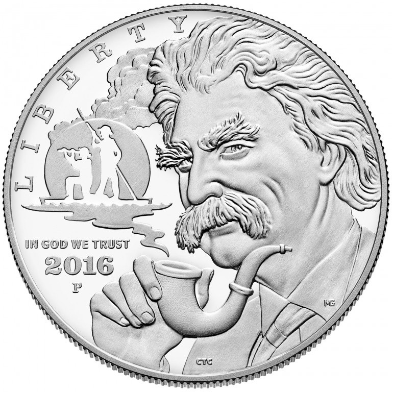 (W071.1.D.2016_P.1) 1 Dollar Mark Twain 2016 P - Proof silver Obverse (zoom)