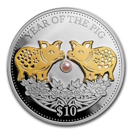 (W073.10.D.2019.1.oz.Ag.1) 10 Dollars Fidji 2019 1 once argent BE - Année du Cochon Revers