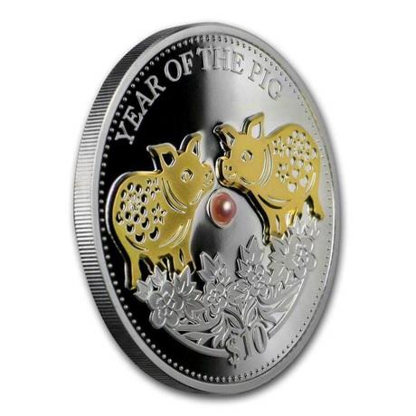 (W073.10.D.2019.1.oz.Ag.1) 10 Dollars Fidji 2019 1 oz Ag BE - Année du Cochon (tranche)