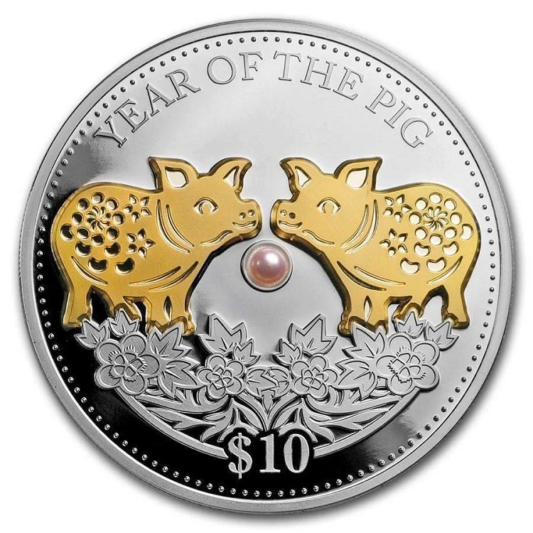 (W073.10.D.2019.1.oz.Ag.1) 10 Dollars Fiji 2019 1 ounce Proof silver - Year of the Pig Reverse (zoom)