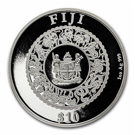 (W073.10.D.2021.1.oz.Ag.1) 10 Dollars Fidji 2021 1 once argent BE - Année du Boeuf Avers