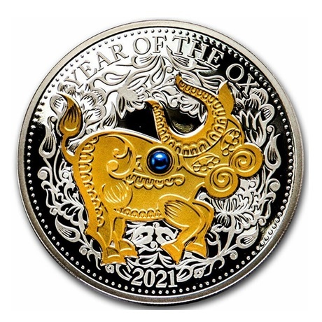 (W073.10.D.2021.1.oz.Ag.1) 10 Dollars Fidji 2021 1 once argent BE - Année du Boeuf Revers