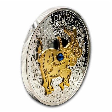 (W073.10.D.2021.1.oz.Ag.1) 10 Dollars Fidji 2021 1 oz Ag BE - Année du Boeuf (tranche)