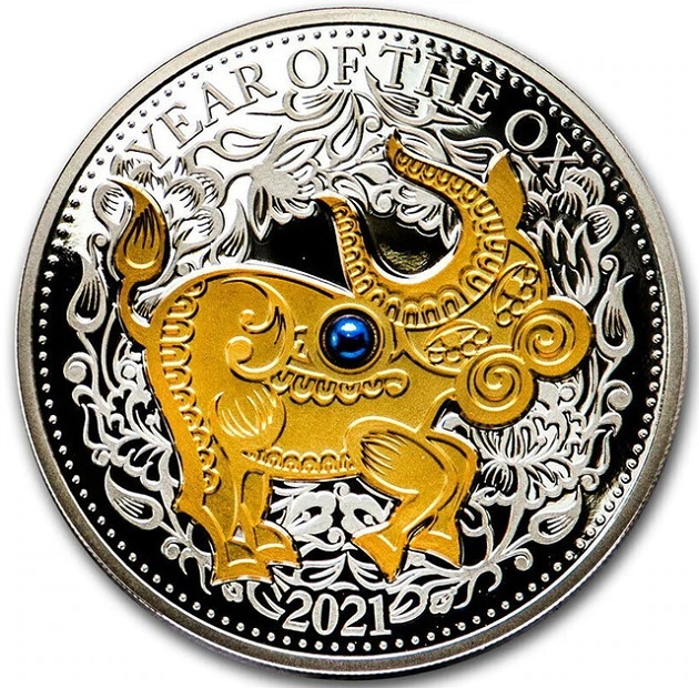 (W073.10.D.2021.1.oz.Ag.1) 10 Dollars Fiji 2021 1 ounce Proof silver - Year of the Ox Reverse (zoom)