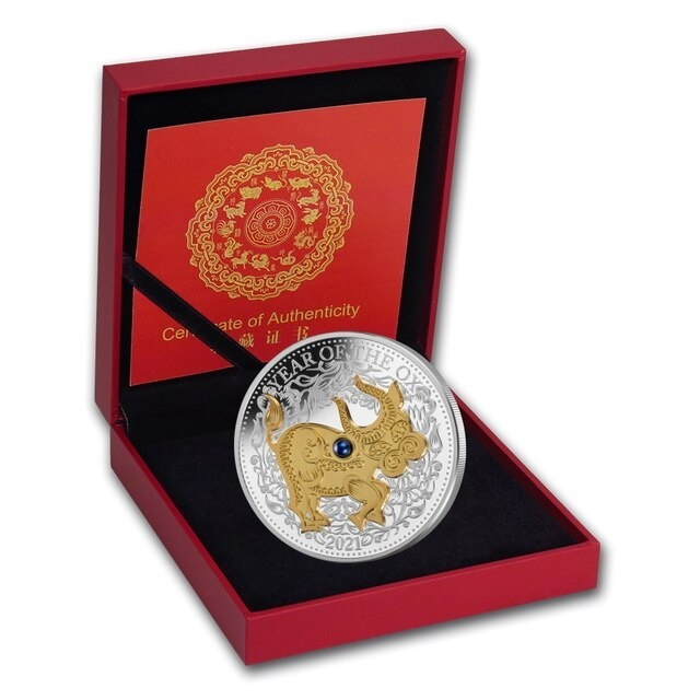(W073.10.D.2021.1.oz.Ag.1) 10 Dollars Fiji 2021 1 oz Proof Ag - Year of the Ox (case) (zoom)