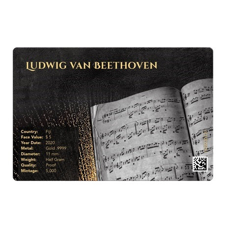 (W073.5.D.2020.0,50.g.Au.1) 5 Dollars Fidji 2020 0,50 gramme or BE - Beethoven Verso
