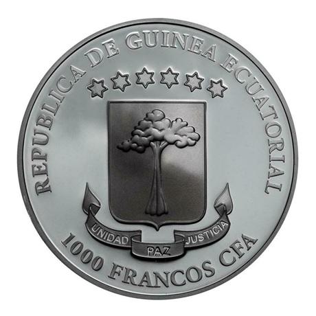 (W087.1000.CFA.2019.1.oz.Ag.1) 1000 Francos CFA Guinée Equatoriale 2019 1 oz Ag - Lune de sang Avers
