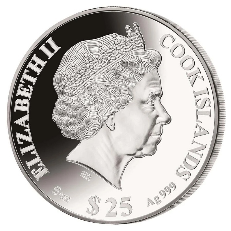 (W099.25.D.2021.5.oz.Ag.1) 25 Dollars Cook Islands 2021 5 oz Proof silver - Year of the Ox Obverse (zoom)