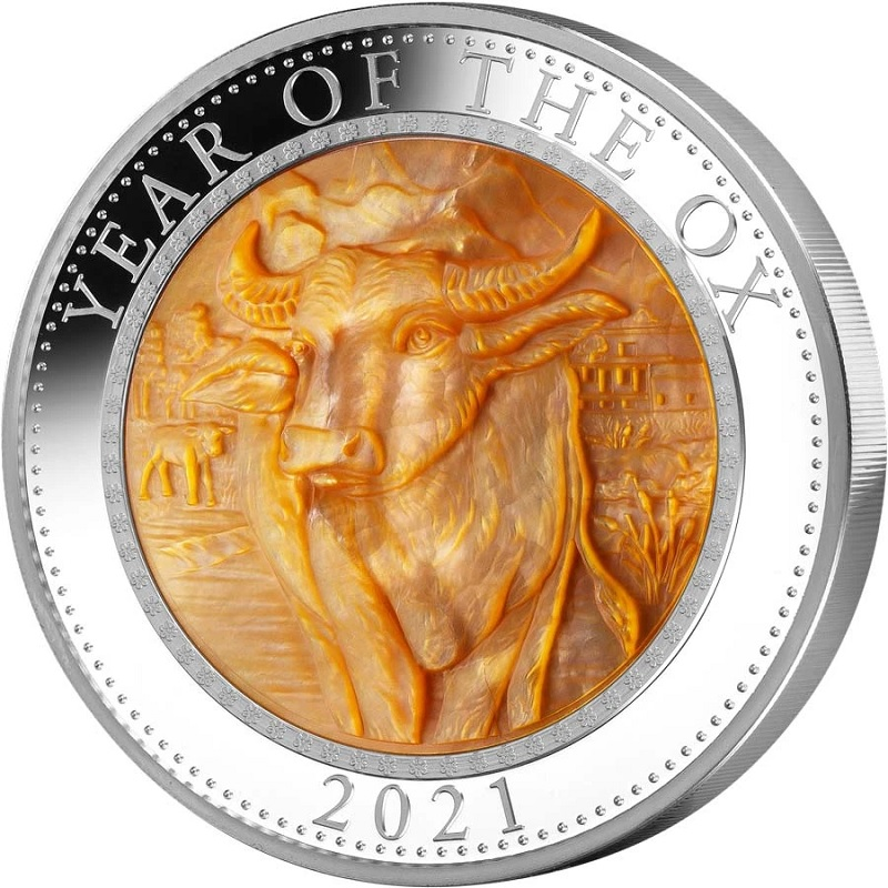 (W099.25.D.2021.5.oz.Ag.1) 25 Dollars Cook Islands 2021 5 oz Proof silver - Year of the Ox Reverse (zoom)