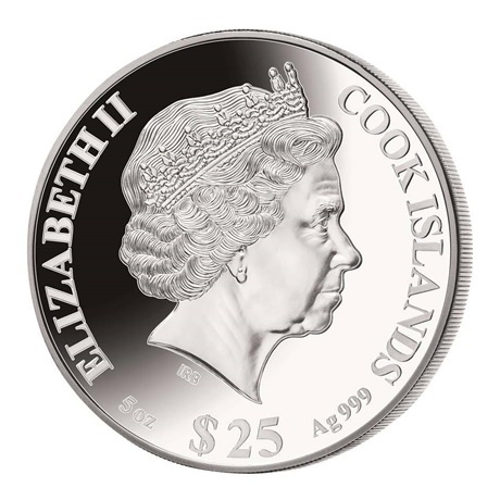 (W099.25.D.2021.5.oz.Ag.1) 25 Dollars Iles Cook 2021 5 onces argent BE - Année du Boeuf Avers