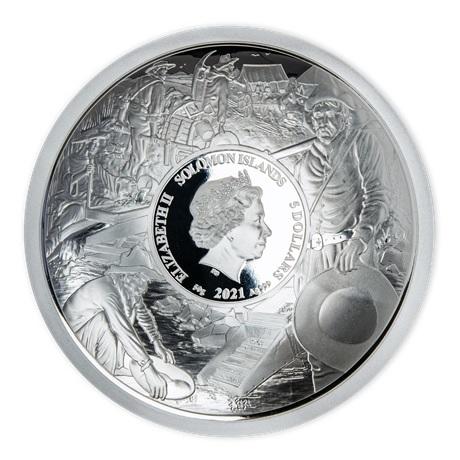 (W106.5.D.2021.50.g.Ag.1) 5 Dollars Iles Salomon 2021 50 grammes argent BE - Ruée vers or Avers
