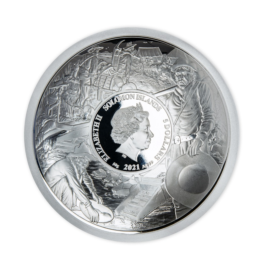 (W106.5.D.2021.50.g.Ag.1) 5 Dollars Salomon Islands 2021 50 g Proof silver - Gold Rush Obverse (zoom)