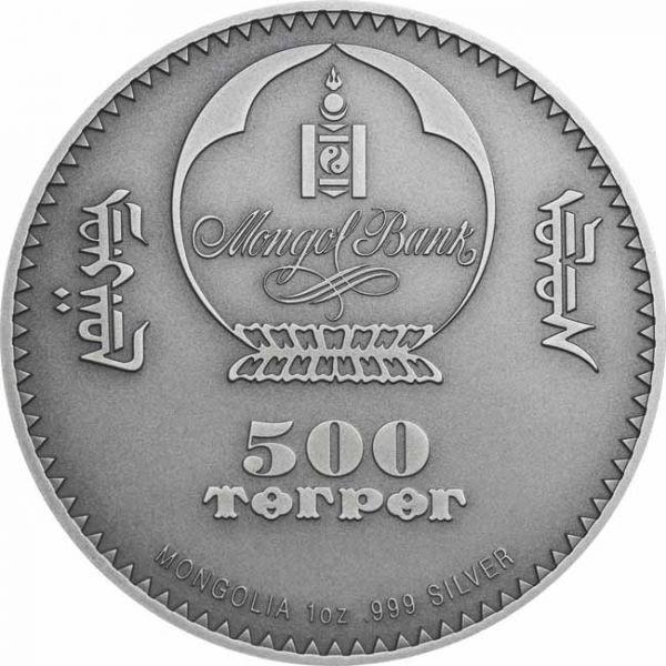 (W151.500.Tögrög.2020.1.oz.Ag.1) 500 Tögrög Mongolia 2020 1 oz silver - Diplocaulus Obverse (zoom)