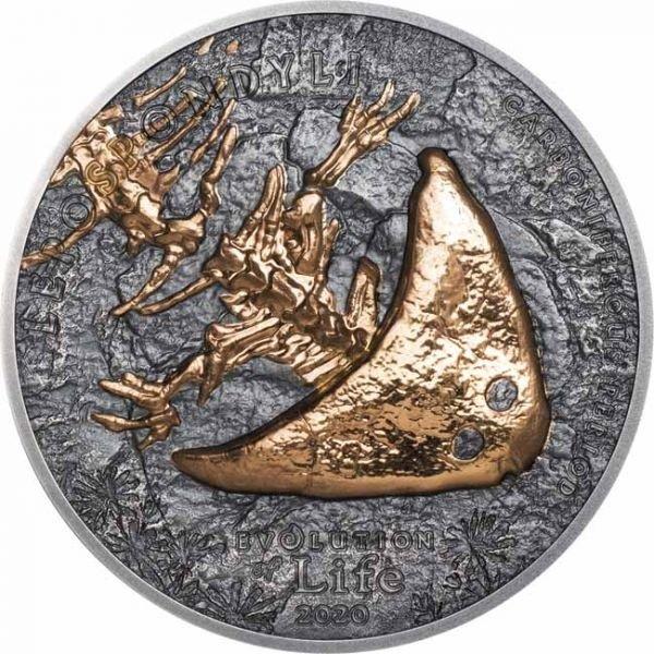 (W151.500.Tögrög.2020.1.oz.Ag.1) 500 Tögrög Mongolia 2020 1 oz silver - Diplocaulus Reverse (zoom)