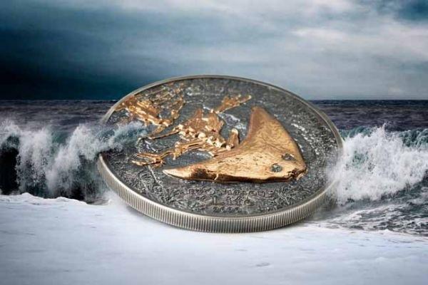 (W151.500.Tögrög.2020.1.oz.Ag.1) 500 Tögrög Mongolia 2020 1 oz silver - Diplocaulus (zoom)