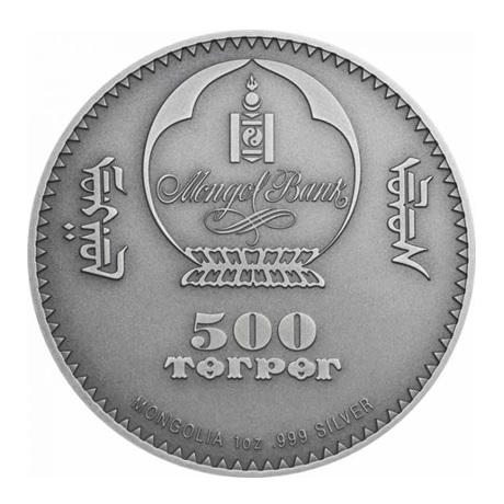 (W151.500.Tögrög.2020.1.oz.Ag.1) 500 Tögrög Mongolie 2020 1 once argent - Diplocaulus Avers