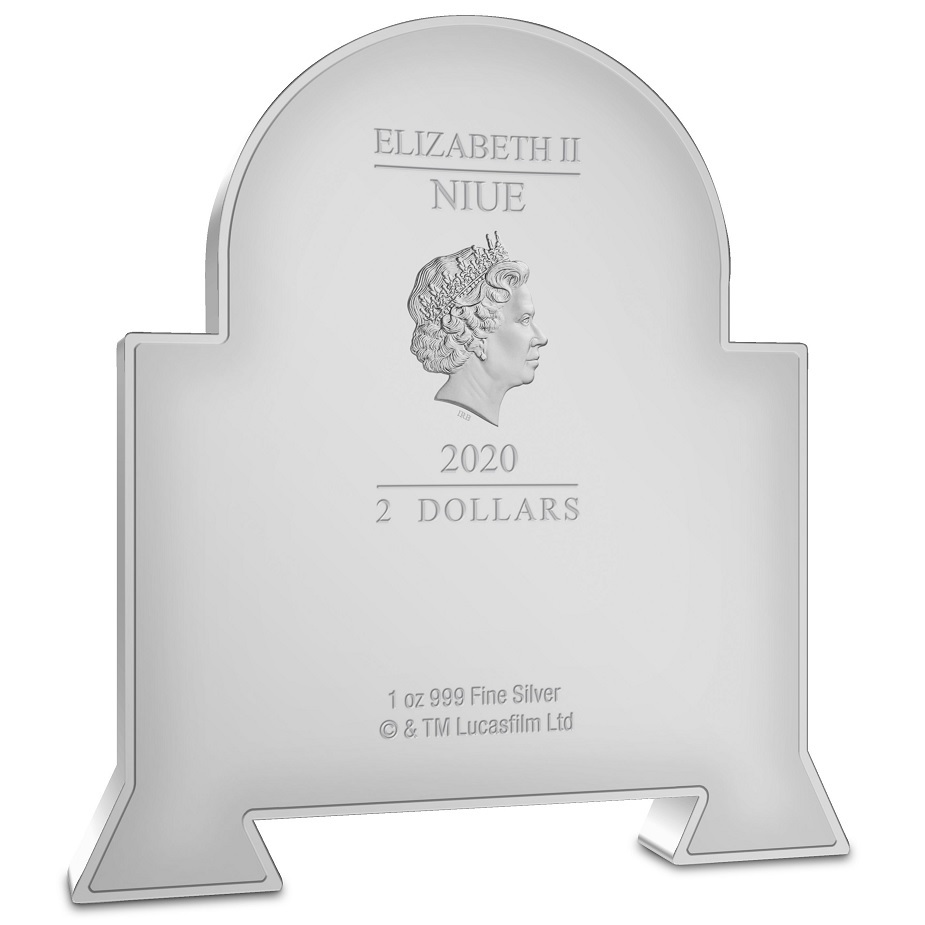 (W160.200.2020.30-01013) 2 Dollars Niue 2020 1 oz Proof silver - Chibi R2-D2 Obverse (zoom)