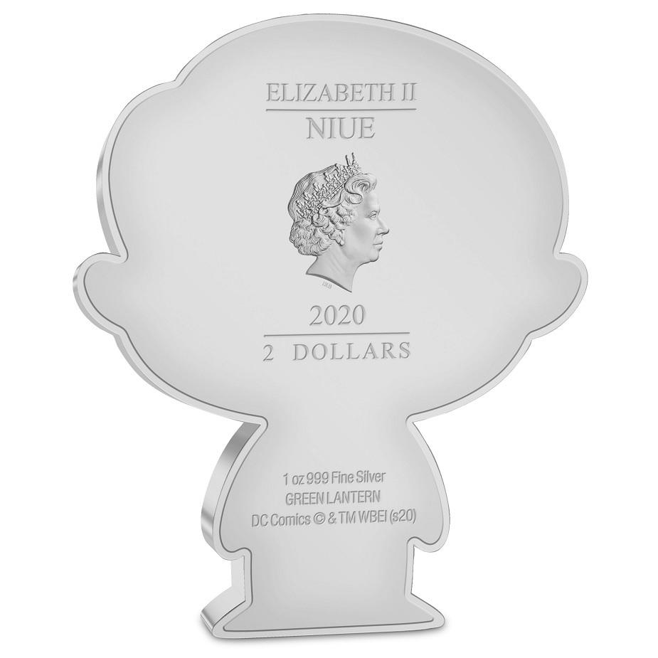 (W160.200.2020.30-01014) 2 Dollars Niue 2020 1 oz Proof silver - Chibi Green Lantern Obverse (zoom)