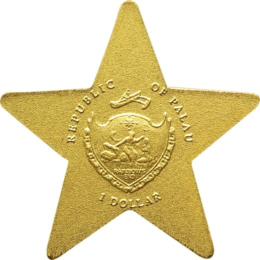 (W168.1.1.D.n.d._2009_.23911) 1 Dollar Lucky Star 2009 - BU gold Obverse (zoom)