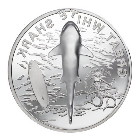 (W168.1.5.D.2021.29380) 5 Dollars Grand requin blanc 2021 - Argent BE Avers