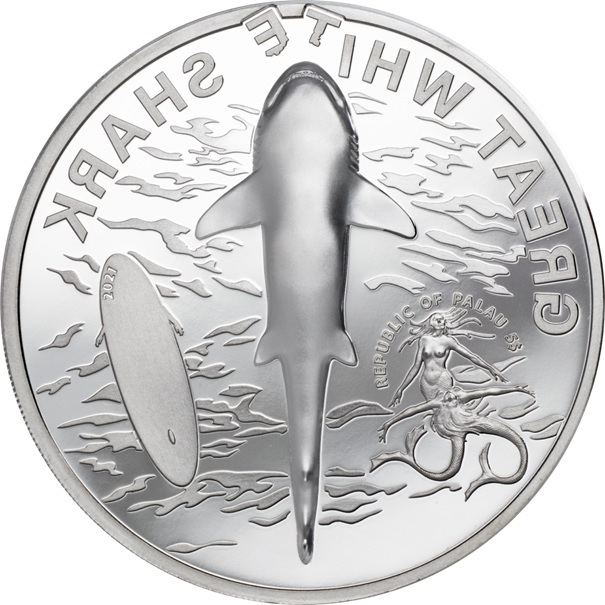 (W168.1.5.D.2021.29380) 5 Dollars Great white shark 2021 - Proof silver Obverse (zoom)
