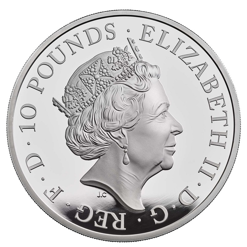 (W185.1000.2021.UK21QWS5) 10 Pounds UK 2021 5 oz Proof silver - White Greyhound Richmond Obverse (zoom)