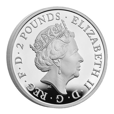 (W185.200.2021.UK21QWSP) 2 Pounds Royaume-Uni 2021 1 once argent BE - Lévrier blanc Richmond Avers