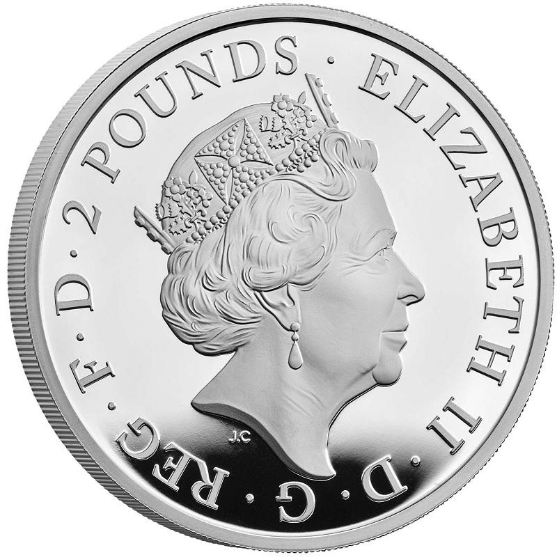 (W185.200.2021.UK21QWSP) 2 Pounds UK 2021 1 oz Proof Ag - White Greyhound Richmond Obverse (zoom)