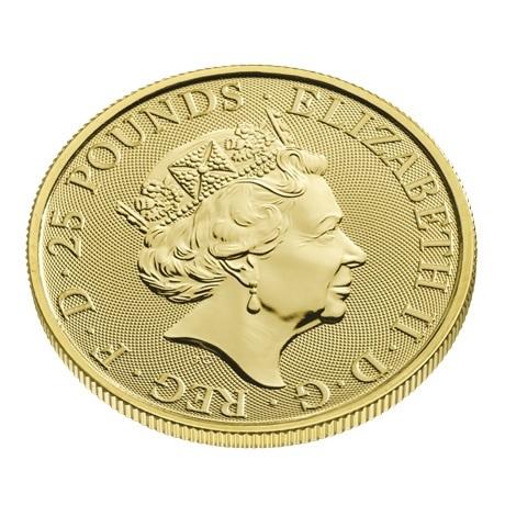 (W185.2500.2021.QBG21QZC) 25 Pounds Royaume-Uni 2021 0,25 once Au - Lévrier blanc Richmond Avers