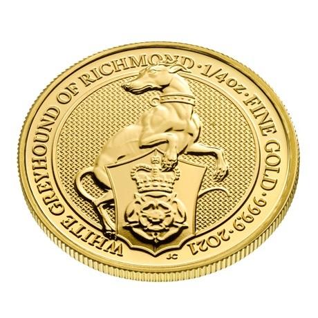 (W185.2500.2021.QBG21QZC) 25 Pounds Royaume-Uni 2021 0,25 once Au - Lévrier blanc Richmond Revers