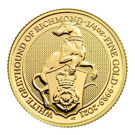 (W185.2500.2021.QBG21QZC) 25 Pounds Royaume-Uni 2021 0,25 once or - Lévrier blanc Richmond Revers