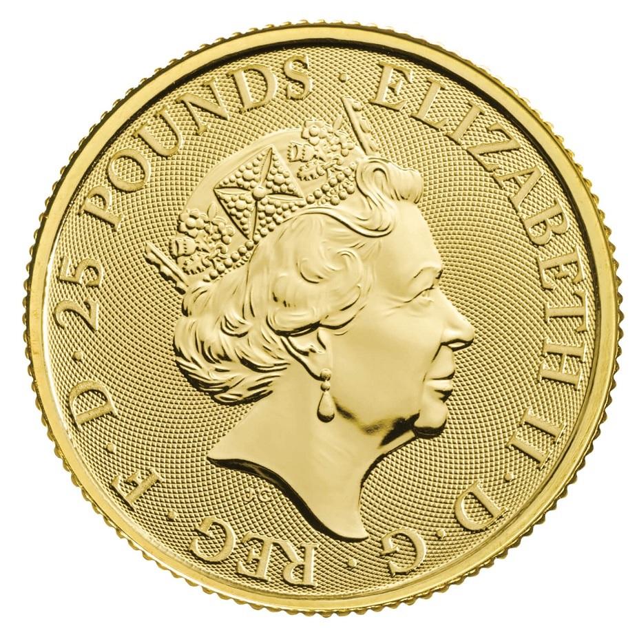 (W185.2500.2021.QBG21QZC) 25 Pounds UK 2021 0.25 oz Au - White Greyhound Richmond Obverse (zoom)
