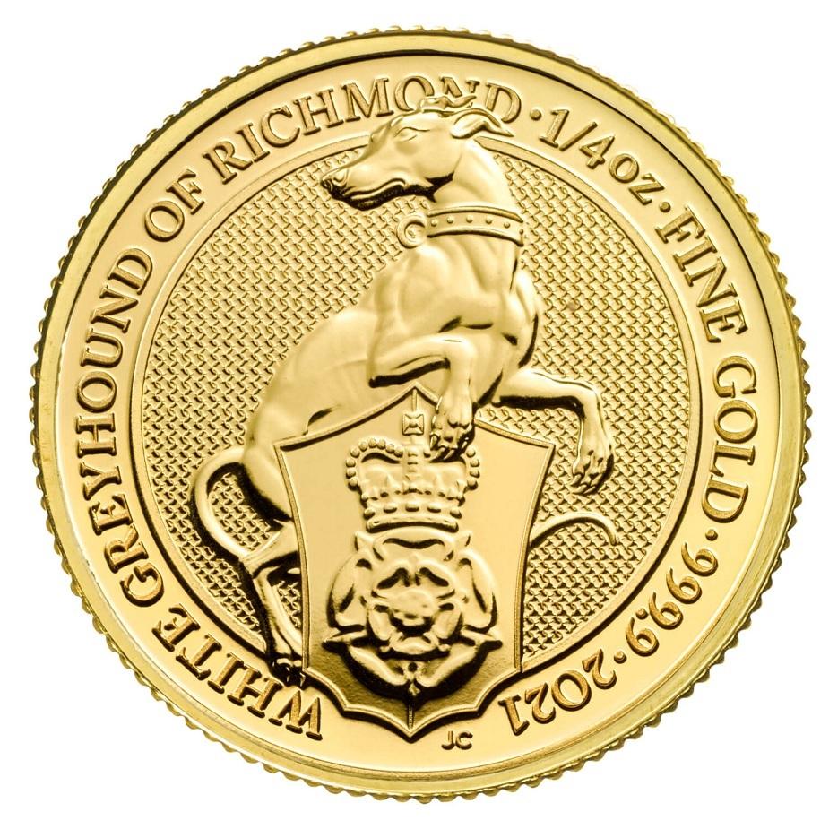 (W185.2500.2021.QBG21QZC) 25 Pounds UK 2021 0.25 oz Au - White Greyhound Richmond Reverse (zoom)