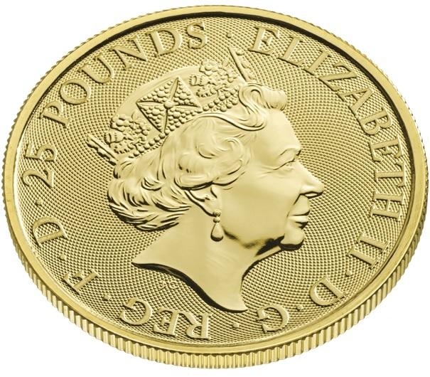 (W185.2500.2021.QBG21QZC) 25 Pounds UK 2021 0.25 oz gold - White Greyhound Richmond Obverse (zoom)