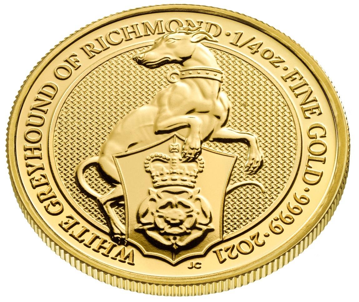 (W185.2500.2021.QBG21QZC) 25 Pounds UK 2021 0.25 oz gold - White Greyhound Richmond Reverse (zoom)
