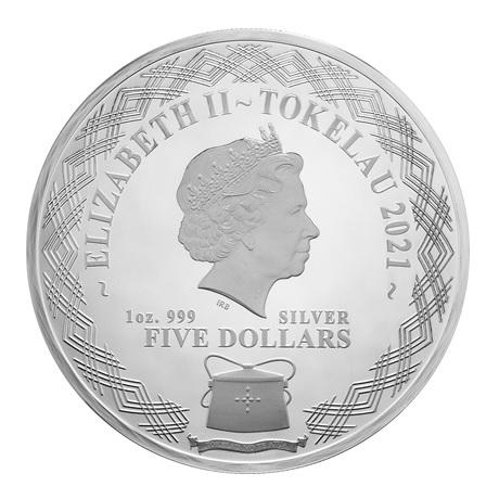 (W221.1.5.D.2021.1.oz.Ag.1) 5 Dollars Tokelau 2021 1 once argent BE - Boeuf miroir Avers