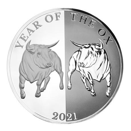 (W221.1.5.D.2021.1.oz.Ag.1) 5 Dollars Tokelau 2021 1 once argent BE - Boeuf miroir Revers