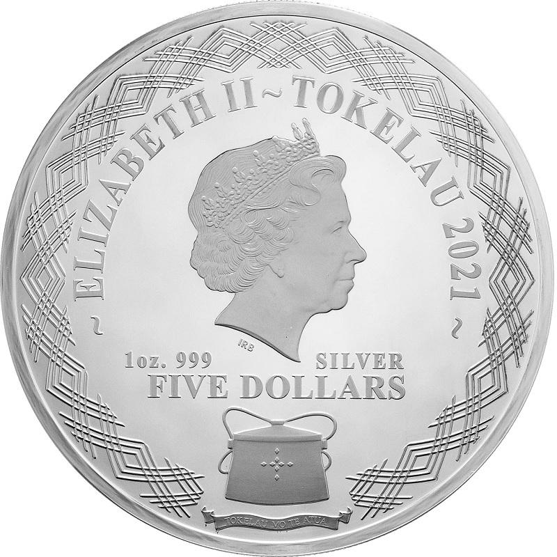 (W221.1.5.D.2021.1.oz.Ag.1) 5 Dollars Tokelau 2021 1 ounce Proof silver - Mirror Ox Obverse (zoom)