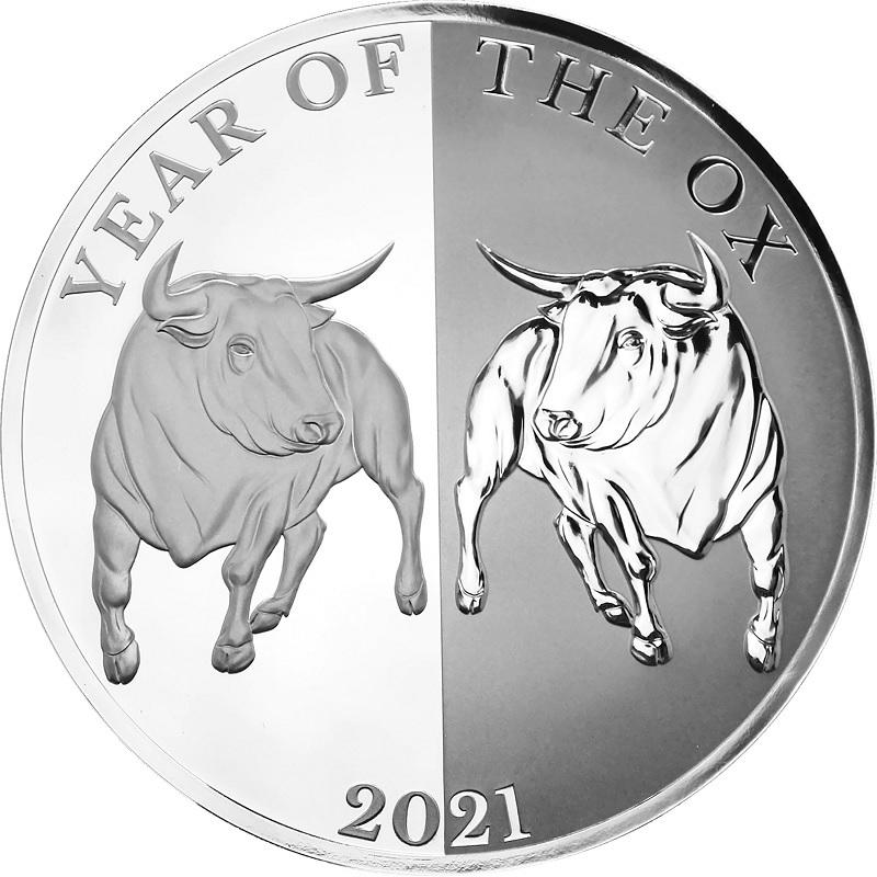 (W221.1.5.D.2021.1.oz.Ag.1) 5 Dollars Tokelau 2021 1 ounce Proof silver - Mirror Ox Reverse (zoom)