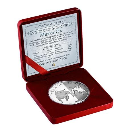 (W221.1.5.D.2021.1.oz.Ag.1) 5 Dollars Tokelau 2021 1 oz Ag BE - Boeuf miroir (écrin)