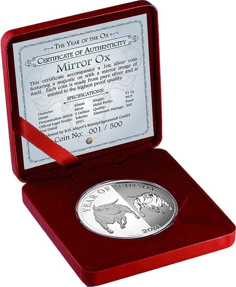 (W221.1.5.D.2021.1.oz.Ag.1) 5 Dollars Tokelau 2021 1 oz Proof Ag - Mirror Ox (case) (zoom)