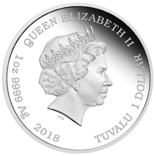 (W228.1.100.2018.1.oz.Ag.1) 1 Dollar Tuvalu 2018 1 oz Proof Ag - Scooby-Doo Obverse (zoom)