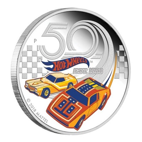 (W228.1.100.2018.18C79AAA) 1 Dollar Tuvalu 2018 1 once argent BE - Hot Wheels Revers