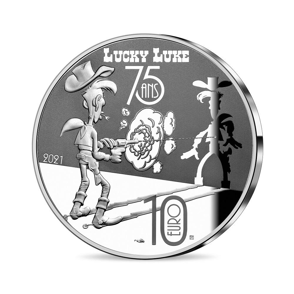 (EUR07.ComBU&BE.2021.10041354950000) 10 euro France 2021 Proof Ag - Lucky Luke Reverse (zoom)