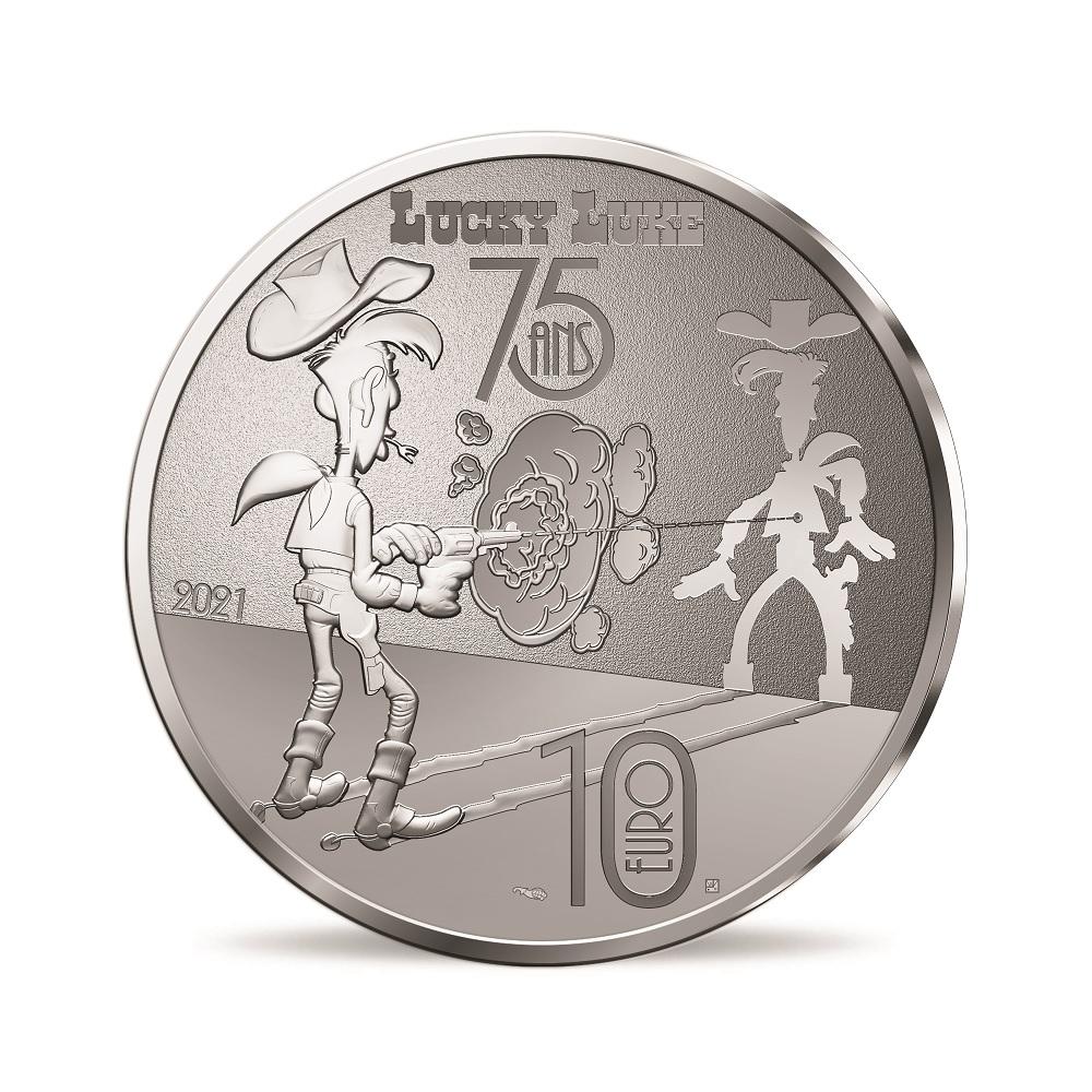 (EUR07.ComBU&BE.2021.10041354950000) 10 euro France 2021 Proof silver - Lucky Luke Reverse (zoom)