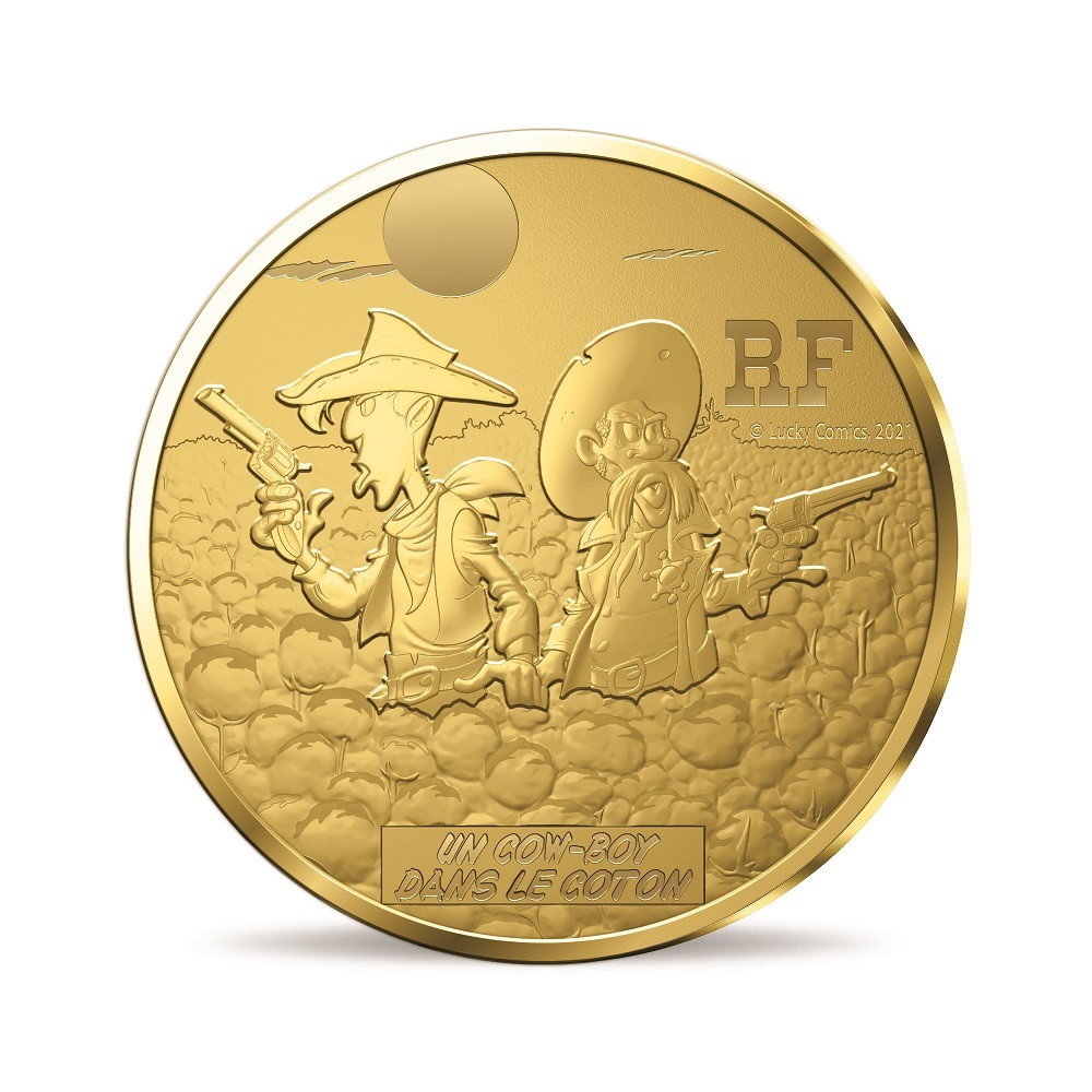 (EUR07.ComBU&BE.2021.10041356270000) 50 euro France 2021 Proof gold - Lucky Luke Obverse (zoom)